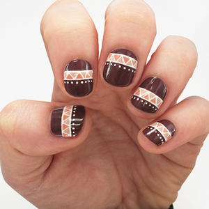 Tribal-Inspired Nail Art Design Perfect for Fall