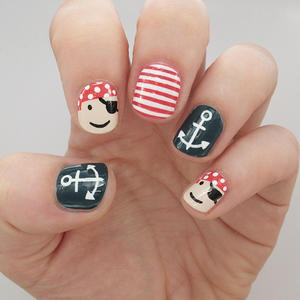 Arrgh! Playful Pirate and Nautical Nails