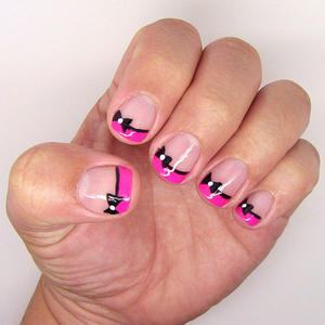 Fancy French Tip Bow Nail Art