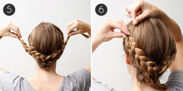 Braided Updo with Lovely Lace Braids Steps 5-6