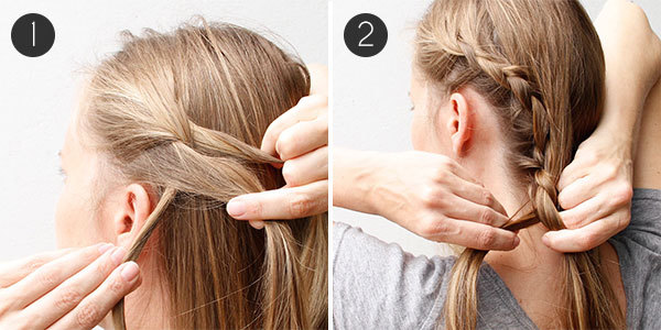 Braided Updo with Lovely Lace Braids Steps 1-2