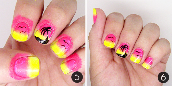 Sunset Palm Tree Nail Art Steps 5-6 - Summer Nail Art: Sunset Palm Tree Nail Design More.com