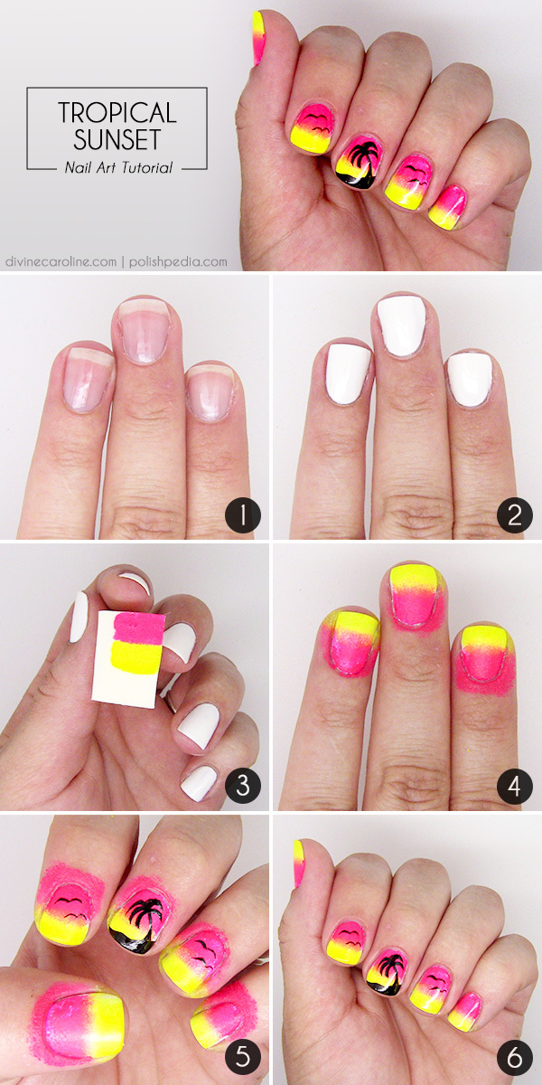 Sunset Palm Tree Nail Art Step-by-Step - Summer Nail Art: Sunset Palm Tree Nail Design More.com