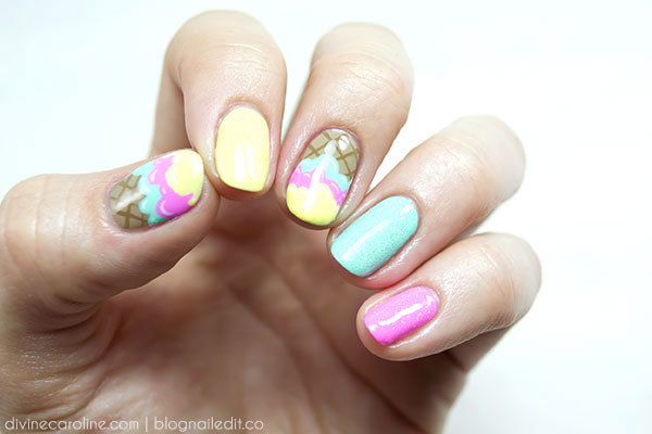 Sweet ice cream nails for summer more ice cream nail design prinsesfo Gallery
