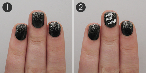 A tutorial to toast fun nail art for the new year more paint your nails black and let dry using a sponge and silver glitter nail polish create a glitter gradient 2 using a thin nail art brush prinsesfo Gallery