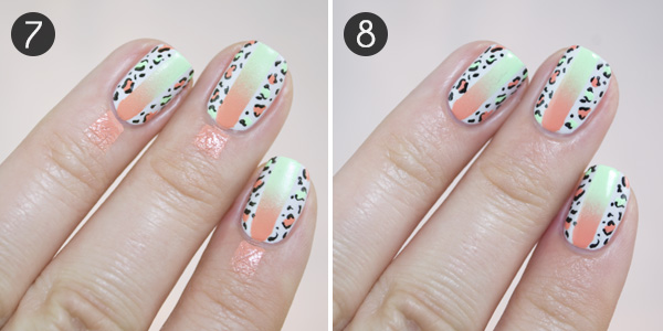 Summer fun neon and leopard print nail art combo more 7 now dip your dotting tool in your black polish and place smaller dots around the neon circles you just created again be messy and random with this prinsesfo Image collections