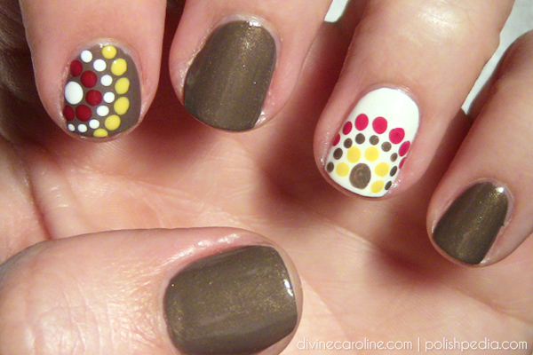 Fall colored polka dot nail art more this fall colored polka dot design consists of three different dot sizes youll need large medium and small dotting tools to recreate it prinsesfo Images