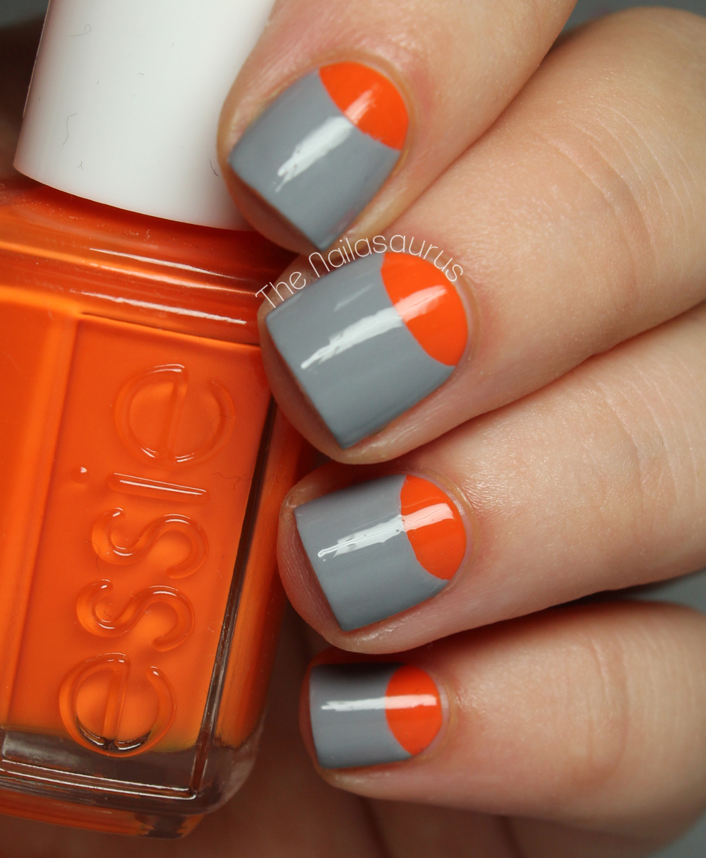For this nail art you'll need two nail polish colors of your choice. I'm  using an orange and gray combination to give my nails a '60s mod twist. - How To Create A Half-Moon Nail More.com