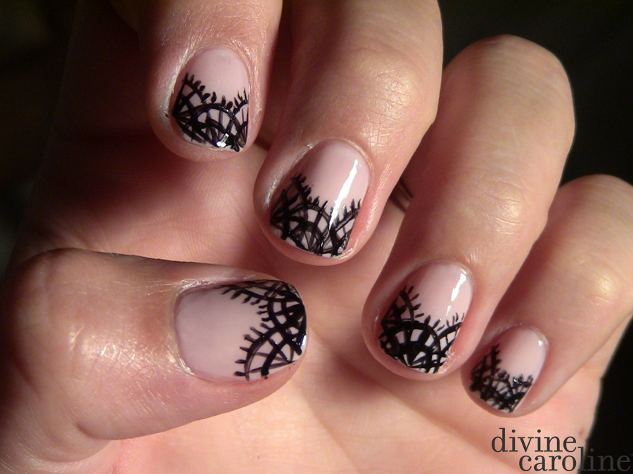 Black lace nail art more prinsesfo Image collections