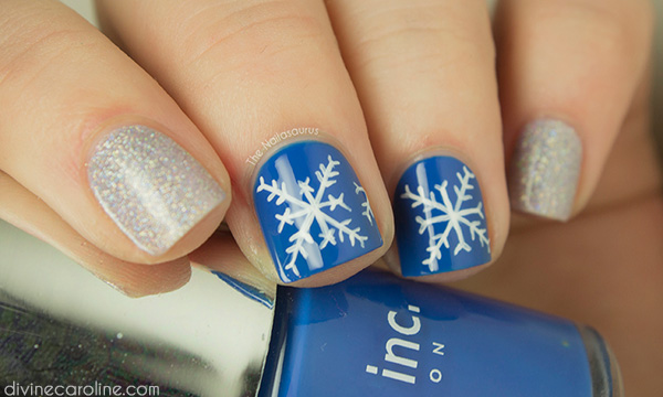 The beautiful simplicity of the snowflake offered me the inspiration for  this simple nail art that's perfect for winter. - Nail Art How-to: Snowflake Design More.com