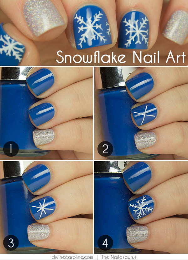 Nail art how to snowflake design more nail art how to snowflake design prinsesfo Choice Image