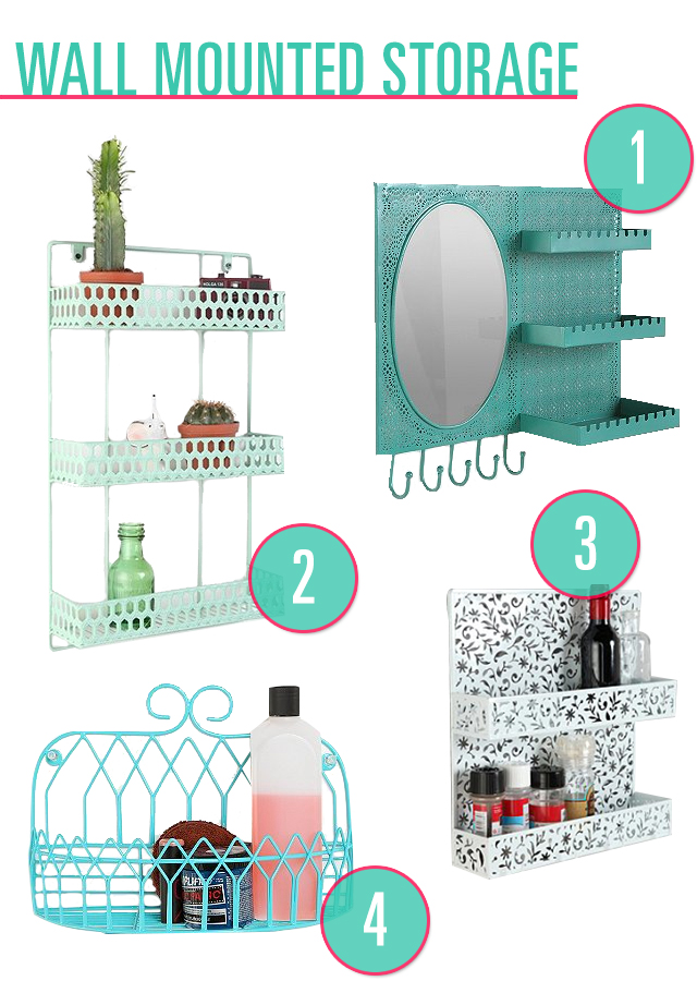 Urban Outfitters Over The Door Vanity Station 2. Urban Outfitters Triple  Decker Shelf 3. Urban Outfitters Floral Cutout Spice Rack 4.