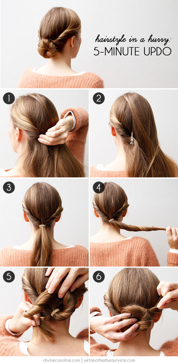 Hairstyle In A Hurry A Minute Updo Morecom - Hairstyle updos step by step