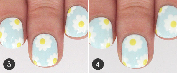 Spring daisy nail art tutorial more paint the center of each flower yellow i used graffiti nailss mellow 4 finish off with a topcoat to seal in your design and prevent it from chipping prinsesfo Gallery
