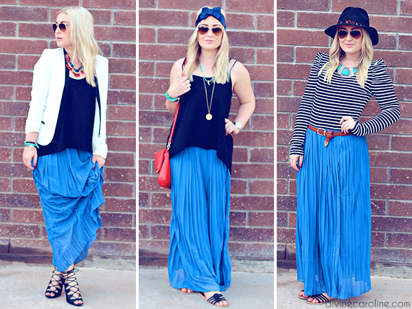 3 ways to wear it how to style a chiffon maxi skirt