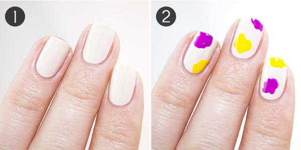 Freehand fun floral nail art for spring more first polish your nails with your neutral light base let it dry 2 now dip your dotting tool into your first flower color blob rough flower shapes on prinsesfo Images