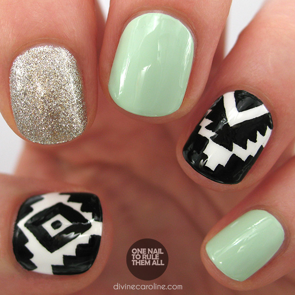 I love tribal and Aztec designs, and I think they translate into nail art  well. I recently stumbled across a picture of Aztec nails that used a  combination ... - Glitter Aztec Nail Art More.com