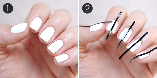Prepare the nail with a base coat, then lay down two coats of white polish.  Follow it with a coat of quick dry top coat. Let that dry before moving on. - Somewhere Over The Rainbow: Easy Nail Art More.com