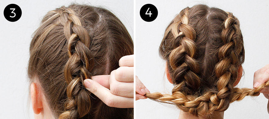 Dutch Braids: Steps 3-4