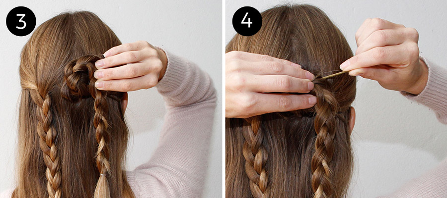 Split The Top Half Of Your Hair In Two Parts To Create The Half Updo  Valentineu0027s Day Hairstyle. 2. Braid Two Classic, Three Strand Braids And  Secure ...