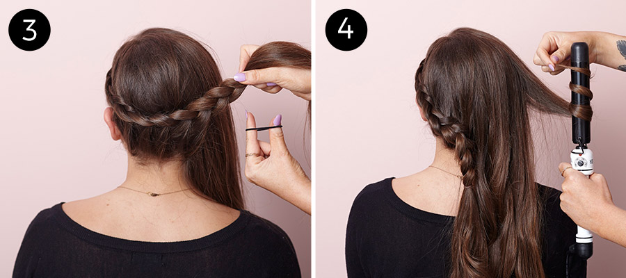 Lace-Braided Bun Updo: Steps 3-4
