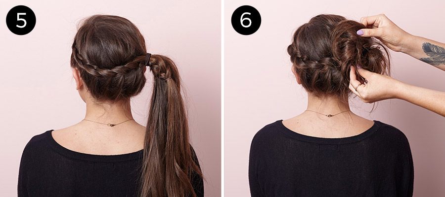 Lace-Braided Bun Updo: Steps 5-6