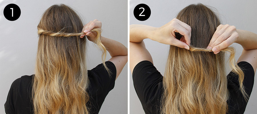Twisted Half Updo: Steps 1-2