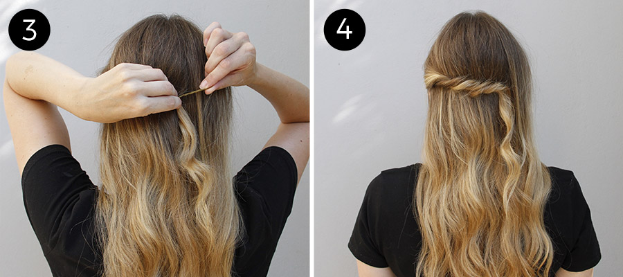 Twisted Half Updo: Steps 3-4