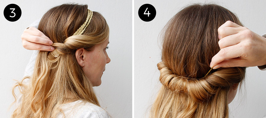 Twisted Headband Updo: Steps 3-4