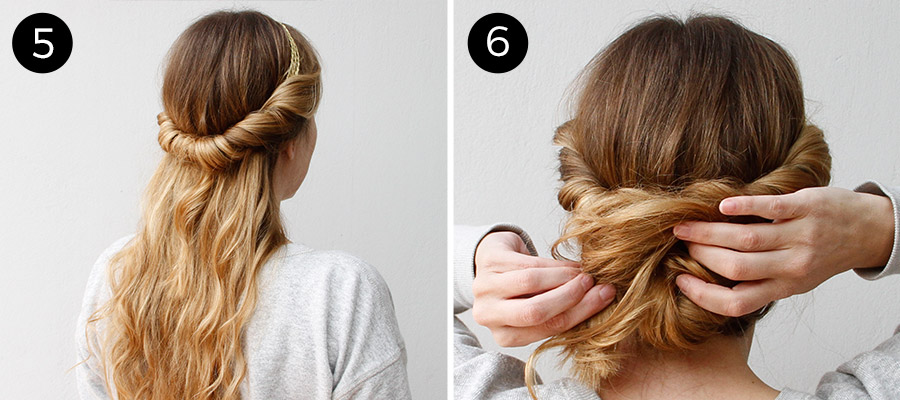 Twisted Headband Updo: Steps 5-6
