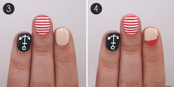 Playful Pirate & Nautical Nails: Steps 3 and 4