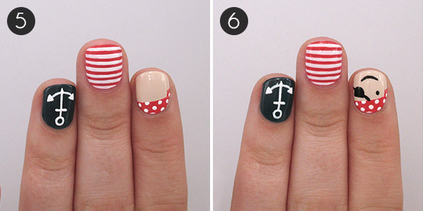 Playful Pirate & Nautical Nails: Steps 5 and 6