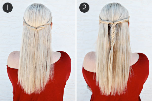 Bohemian Half-Up Fishtail Braid: Steps 1 & 2