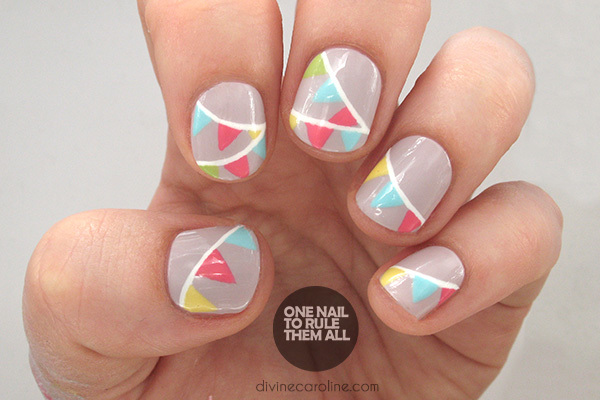 Add a little summer party to your beauty look with this easy nail design.  If you want something simple but effective, this flag nail art is the  perfect ... - Bunting: The Easy Nail Design Of The Summer More.com