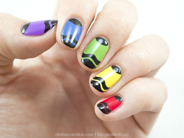 Colorful Crayon Nail Art