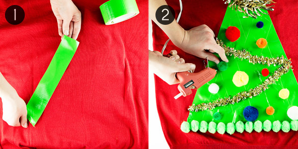 christmas tree sweater steps 1 2 - How To Decorate A Ugly Christmas Sweater