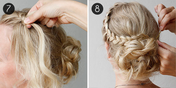 Diy your wedding day hairstyle with this braided updo more diy wedding hair steps 7 8 solutioingenieria