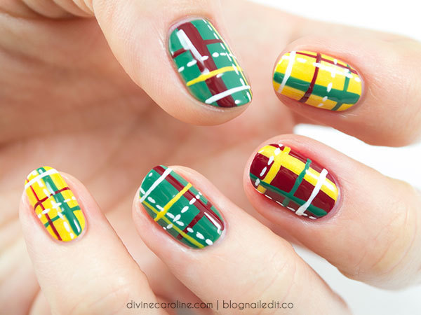 Mad-About-Plaid Christmas Nails