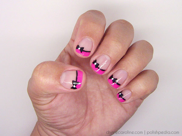 Finished Bow Nail Art - Fancy French Tip Bow Nail Art More.com
