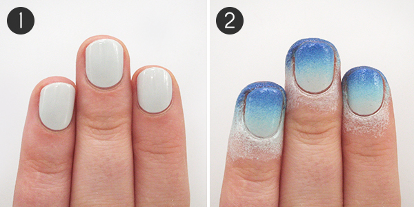 Winter Gradient Nails Steps 1 2