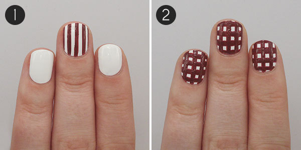 gingham nail art: steps 1 & 2