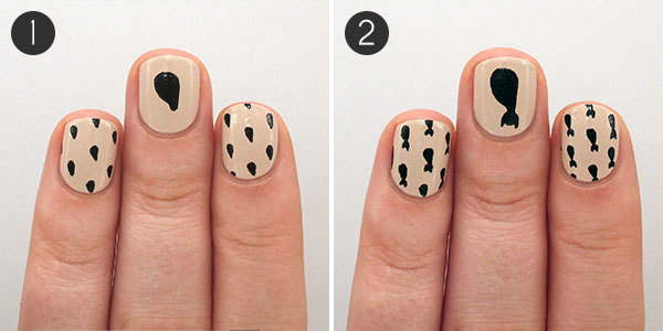 Halloween Black Cat Nails Steps 1-2 - Halloween Nail Art Tutorial: Black Cat Pattern More.com
