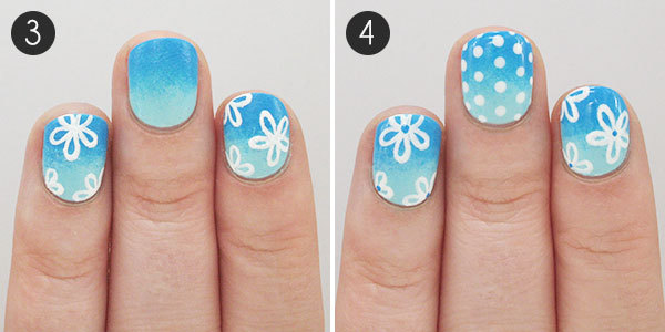 Summery Floral Nails: Steps 3-4