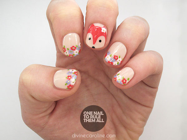 Floral Fox Nail Art Design