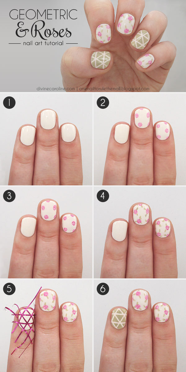 Geometric Roses Nail Art Design