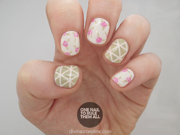 Geometric Roses Nail Art Design - Nail Art Tutorial: Geometric Roses More.com