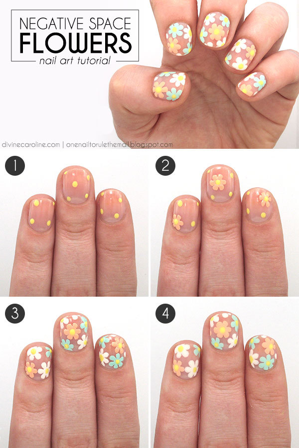 Negative Space Flower Nail Art Tutorial More