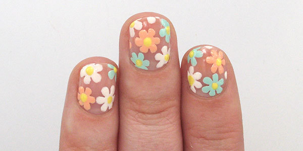 Negative Space Flowers Nail Art Tutorial