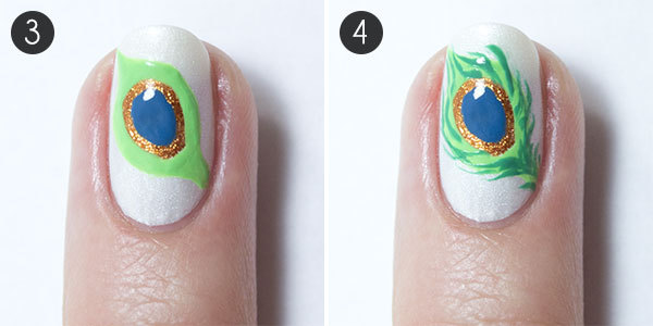 Peacock Feather Nail Art More