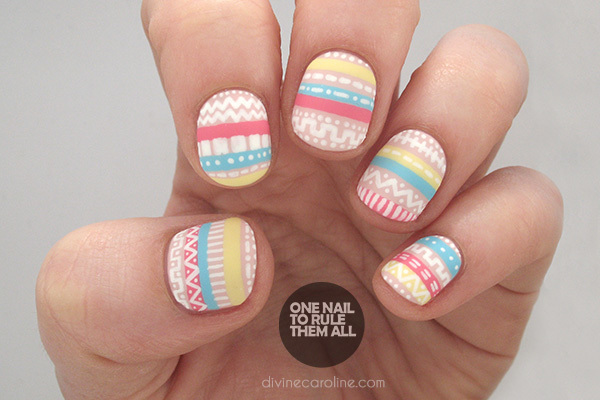 Pastel Aztec Nails - Perfectly Pastel Aztec Nail Art To Try More.com
